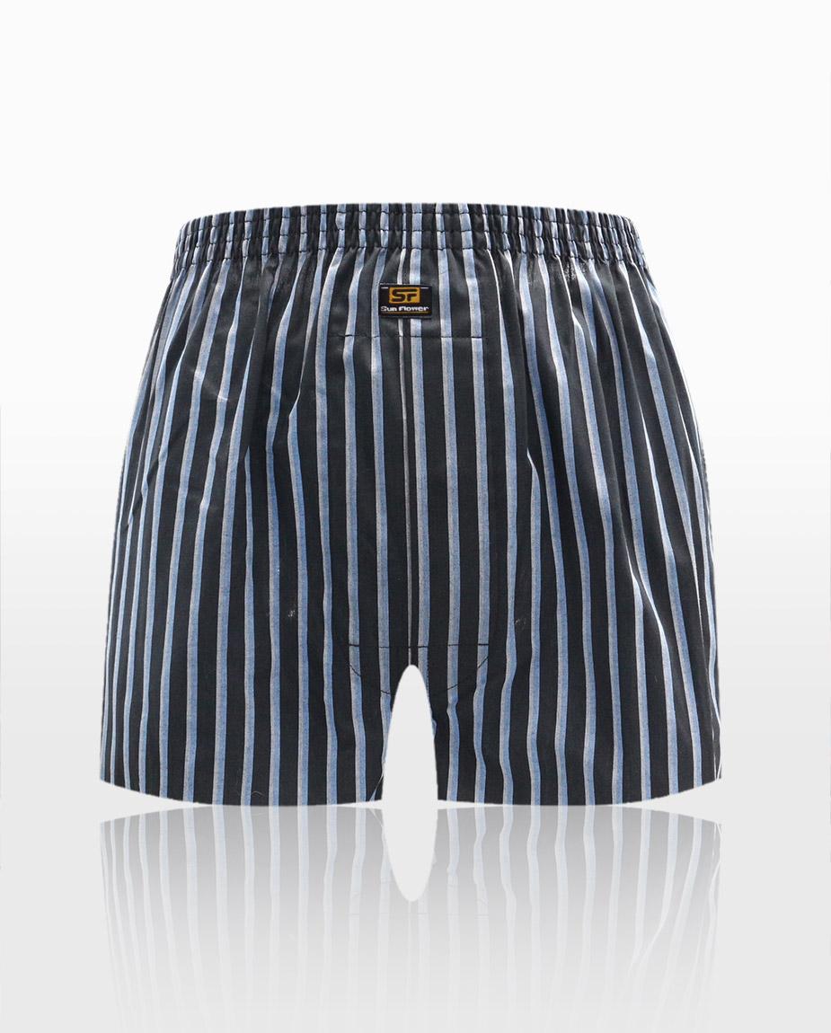 【三花】平口褲/四角褲.男內褲-黑條紋 5522